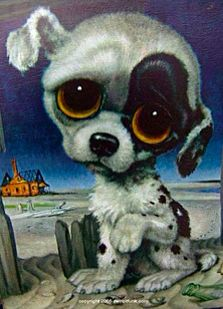 """""""Pitty Puppy"""" - These were popular in the and and this one was created by artist Margaret Keane and is known as the """"mother of big-eye art"""". Big Eyes Margaret Keane, Keane Big Eyes, Margareth Keane, Keane Artist, Big Eyes Paintings, Sad Cat, Sad Eyes, Cute Animal Videos, Eye Art"""