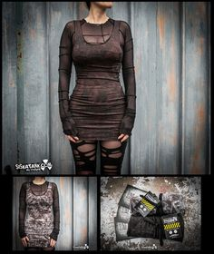 BURN  Wasteland Brown Mini Dress Post Apocalyptic by siskatank