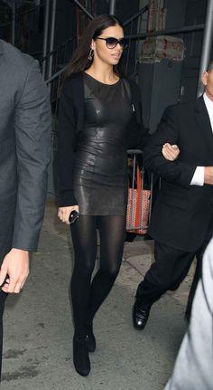 Adriana Lima in leather dress