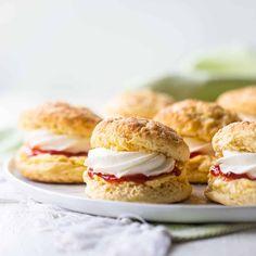Irish Scones with Jam & Cream: Easy recipe! -Baking a Moment Irish Desserts, Irish Recipes, Swedish Recipes, Smores Cake, Savory Scones, Tea Sandwiches, No Cook Meals, Summer Recipes, Easy Recipes
