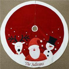 Personalized Santa Rudolph Frosty christmas tree skirt