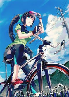 Cycling Cycle Drawing, Cycling Art, Cycling Girls, Road Cycling, Velo Biking, Bike Illustration, Girls Anime, Tokyo Otaku Mode, Bicycle Art