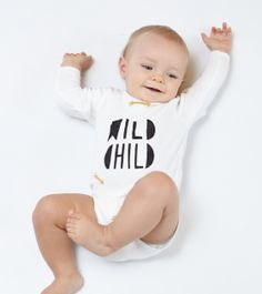 Sweet baby boy Wild Child #babybody #babygrow #onepiece #onesie #monochrome #wildchild #quotes #ubranka #dziecięce #body #dzidzia #stylowe #ekologiczne #ecofriendly #design