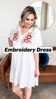 Short Wavy Hair, Short Hair Styles, Nice Dresses, Summer Dresses, Embroidery Dress, Embroidered Flowers, Plus Size Fashion, Party Dress, White Dress