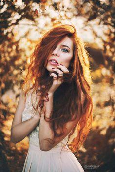 Redhead... portrait in natural light in fall - photo: Marketa Novak  model: Veronika Chovancová  From Spring sunset in Prague =))