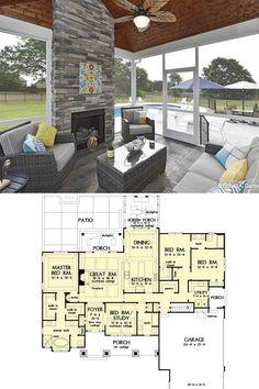 Open Concept House Plans, One Floor House Plans, One Level House Plans, Beach House Plans, Cabin Floor Plans, Luxury House Plans, Dream House Plans, One Level Homes, Craftsman Bungalow House Plans