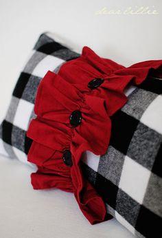 Christmas decor - black/white buffalo check with red