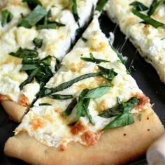 A Four Cheese White Pizza..and make-your-own-homemade-pizza-dough instructions