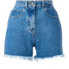 Philosophy Di Lorenzo Serafini frayed denim shorts (€320) ❤ liked on Polyvore featuring shorts, bottoms, blue, blue shorts, blue jean short shorts, short jean shorts, denim shorts and jean shorts