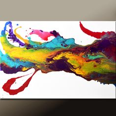 Abstract Art Painting 36x24 Canvas Original Contemporary Modern Art Paintings by Destiny Womack - dWo - Wave of Euphoria. $149.00, via Etsy.