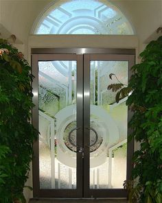 Sun Odyssey - Custom Etched & Carved Glass Entry  ® Sans Soucie Art Glass