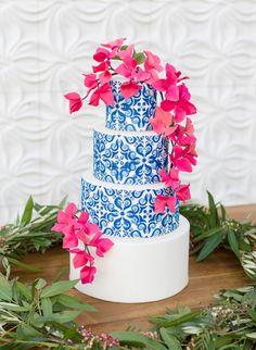 Hot Pink & Cobalt Blue Grecian Wedding Inspiration