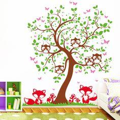 Wandtattoos - Wandtattoo Wandaufkleber Eulen Baum mit Füchsen - ein Designerstück von wandtattoo-loft bei DaWanda