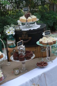 Swanky Pear: Vintage Wedding  love the vintage suitcases on the dessert table