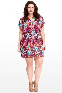 Plus Size Miami Mixed Chevron Dress | Fashion To Figure