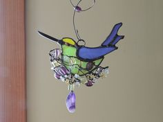 Nesting Hummingbird Stained Glass Suncatcher