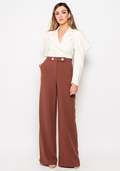 Tuxedo, Wide Leg, Jumpsuit, Legs, Brown, Pants, Wedding, Fashion, Overalls