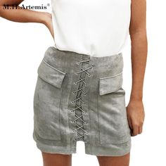 M.H.Artemis Chic leather suede women skirt 90's Vintage pocket preppy short skirt high waist casual skirts 12 col