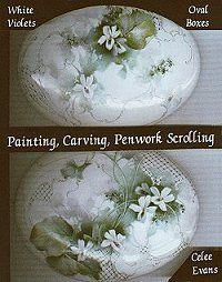 Celee Evans Porcelain Study: White Violets on Oval Boxes