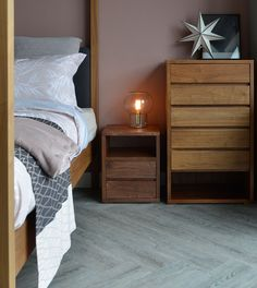 Black Lotus Cube walnut 2-drawer-shelf-table - exclusive to Natural Bed Company