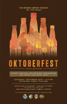 Poster illustration for Oktoberfest. I love the layout of information in the hierarchy and my eye follows nicely. The treatment of type is simple and easy to distinguish. I see three typefaces used that I can see, all sans serif and easy to read. The colors used are seen throughout the poster and its all very cohesive. Designer is Ashley Laskowski.