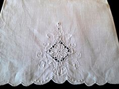10 Lovely Vintage Tea Towel Madeira Embroidery White by RagzandRelics