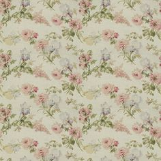b7334082ba Ralph Lauren Fabric LFY12467F Therese Floral White. Rose Wallpaper ...