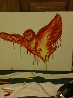 made by Mary Lane Barnes. melted crayon on canvas.  http://thecrayolaartist.blogspot.com/