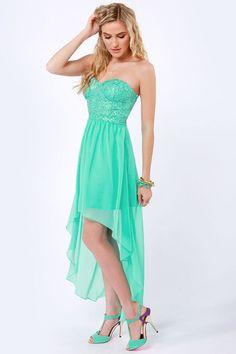 Sexy Strapless Dress - Teal Dress - Sequin Dress - $65.00