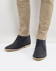 ASOS Desert Boots In Navy Leather With Perforated Detail - Navy