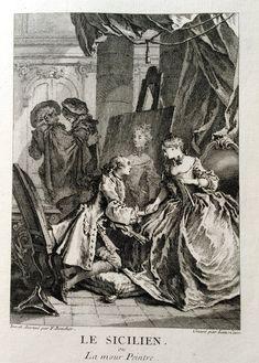 Le sicilien ou l'amour Peintre - Molière - gravé par Laurent CARS d'après François BOUCHER - MAS Estampes Anciennes - Antique Prints since 1898