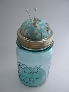 Pin Cushion Antique Mason Jar by Jestti on Etsy, $16.00
