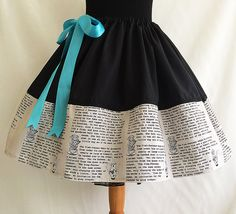 Gorgeous Alice In Wonderland Literature Skirts  These come as a standard 19 long, but they can be made a few inches longer or shorter. Please leave a note on the order with the length you need.  They work like a drawstring waist and open out wide to 2 meters. They are therefore a FREE size.  **PUFF IT OUT WITH A PETTICOAT** https://www.etsy.com/uk/listing/203167846/petticoat-underskirtfluffy-petticoat?ref=shop_home_active_1  **MATCH WITH A BLACK BODYSUIT*** ...