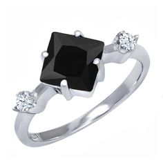 1.60 Ct Black Onyx 925 Sterling Silver Ring Sizes 5 to 9