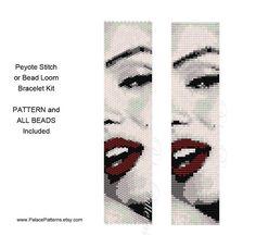 Kit for Marilyn Red Lips Bracelet Peyote Stitch by PalacePatterns