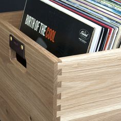Store up to 100 LPs in a beautifully crafted oak crate featuring leather handles for easy transport and traditional English Dovetail Joinery.                                                                                                                                                                                 More