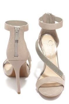 Jessica Simpson Richella Grey Leather Beaded Ankle Strap Heels at Lulus.com!