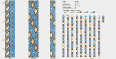 india. beaded rope pattern free. leniccka. blue, white, gold & light brown. bracelet or necklace.