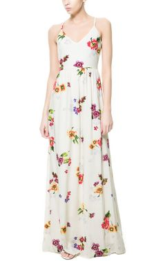 LONG PRINTED DRESS WITH OPENING AT THE BACK - Dresses - TRF | ZARA United States