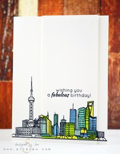 Fun and simple card, using Altenew's Sketchy Cities: Abroad stamp set.