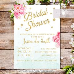 Peony Bridal Shower Invitation, Printable Bridal Shower Invite, Invitation, Shower, DIY, Watercolor, Blue, Pink, Glitter, jadorepaperie, # 55 BSH Welcome to Jadore Paperie! Use this design and have this invite customized with your own wording to suit your personal event. The price of