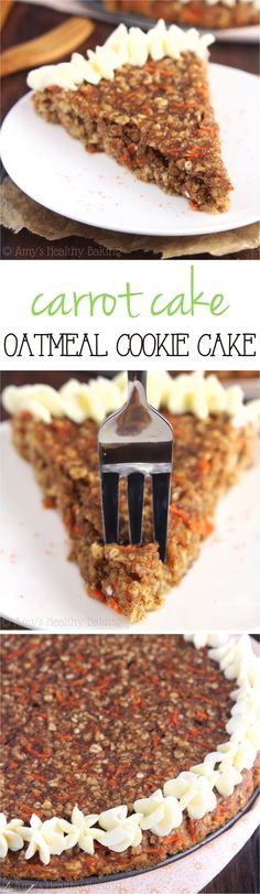 Clean-Eating Carrot Cake Oatmeal Cookie Cake -- this gigantic, skinny cookie doesn't taste healthy at all! You'll never need another oatmeal cookie recipe again - check out the other yummy carrot cake recipes too! Healthy Baking, Healthy Desserts, Just Desserts, Delicious Desserts, Yummy Food, Skinny Cookies, Eating Carrots, Cake Recipes, Dessert Recipes