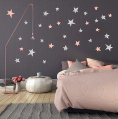 Muursticker sterren zilver/roze