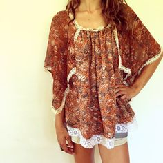 Amber Waves Blouse // vintage 70s scarf dress top by FenixVintage
