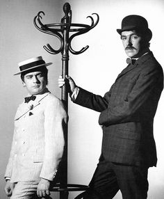 """Dudley Moore & Peter Cook in a publicity shot for The Wrong Box by Bryan Forbes"" I Love To Laugh, Make Me Smile, Peter Cook, Whiskers On Kittens, British Comedy, Comedy Films, Funny People, Funny Men, Iconic Movies"