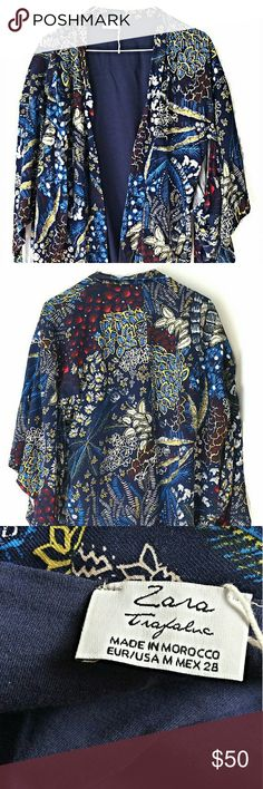 NWOT Zara Trafaluc Floral Kimono Jacket New without original tags.  Size medium. Fit to be oversized so this could fit a large.  Smoke and pet free home. Ships within one day. Zara Jackets & Coats Blazers