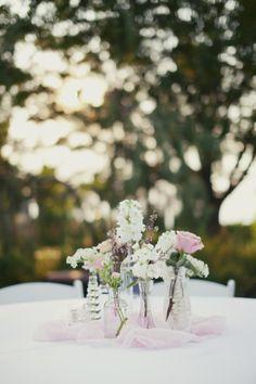 Mismatched Glass Vase Centerpieces | Blossom Sweet | Stephanie Sunderland Photography | TheKnot.com