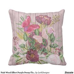Pink Wood Effect Purple Peony Floral Bouquet Throw Pillow