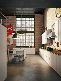"""Snaidero's Frame kitchen presented at Eurocucina 2014 features industrial chic influences and a light, sustainable structure with functional """"empty"""" spaces. Industrial Kitchen Design, Luxury Kitchen Design, Contemporary Kitchen Design, Industrial Interiors, Industrial House, Industrial Chic, Modern Design, Modern Contemporary, Loft Kitchen"""