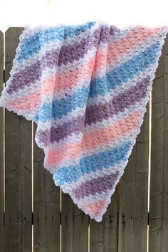 Baby Corner-to-Corner Blanket - The pastel palette and the simple diagonal lines make this afghan perfect for a nursery. From I Like Crochet's August 2014 issue